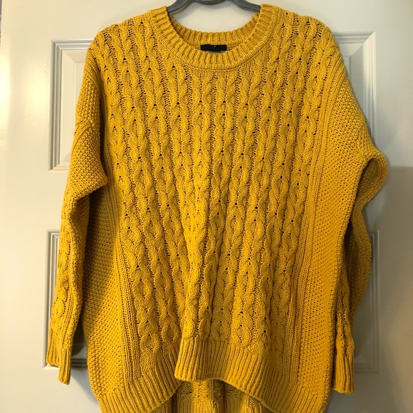 H M Sweaters - H M Mustard Oversized Yellow Cable Knit Sweater f787ec8eb